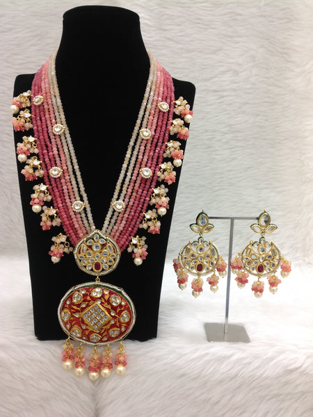 Gigantic Long Coral Peach Pink Gemstones Pearl Necklace Set