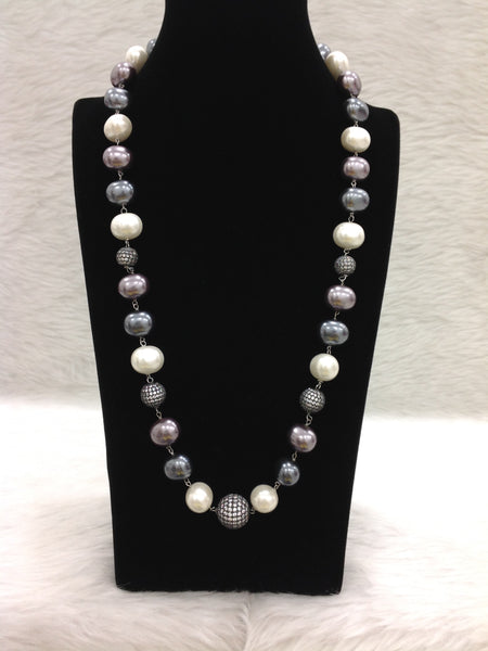 Magnetic Mauve Pearls With Crystal Necklace