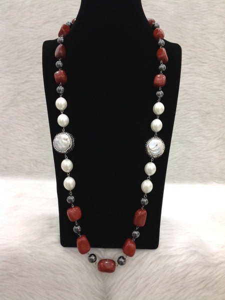 Charming Carrot Red Gemstones Pearls With Crystal Necklace