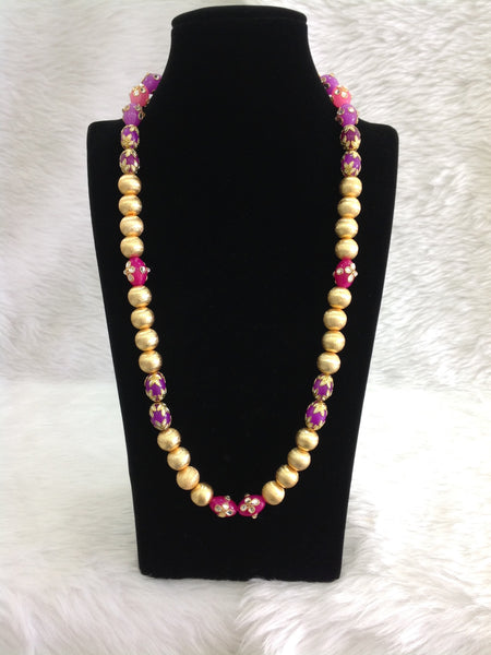 Ethnic Golden And Enamel Beads Necklace