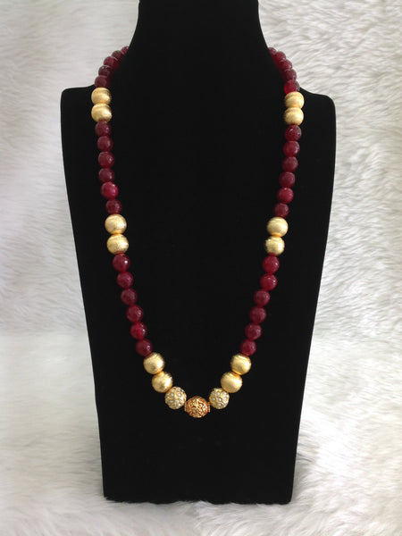 Memorable Maroon Gemstones With Golden Geru Beads Necklace