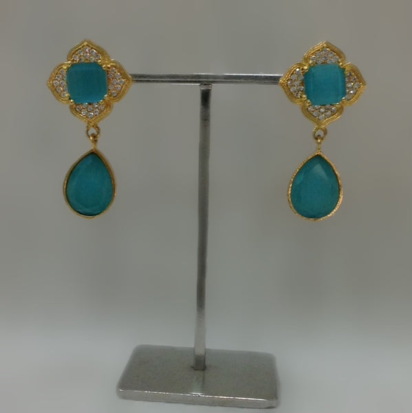 Arctic Blue Stone With Cubic Zirconia Earring