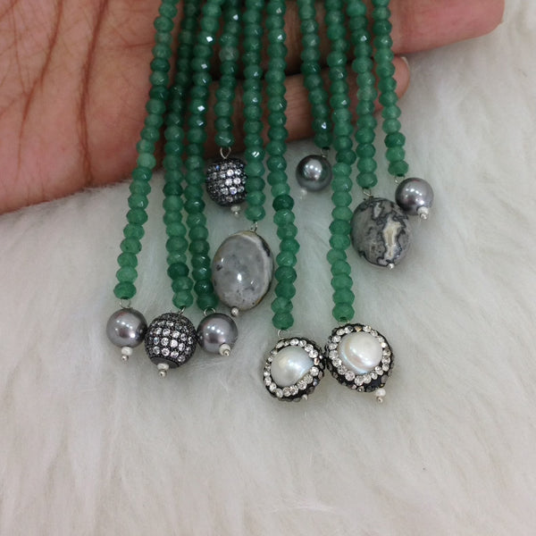 Parakeet Green Gemstone Silver Pearl Crystal Ring Necklace