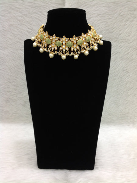 Fascinating Divine Seafoam Green Floweret Kundan Choker Necklace Set
