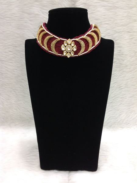 Captivating Threaded Golden Plates Necklace Set