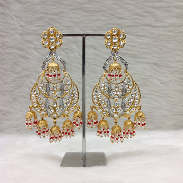 Alluring Golden Kundan with Crystal Long Earrings