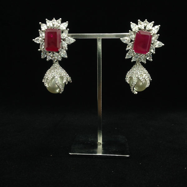 Crystalline Ruby Red Gemstones And Crystal Earrings