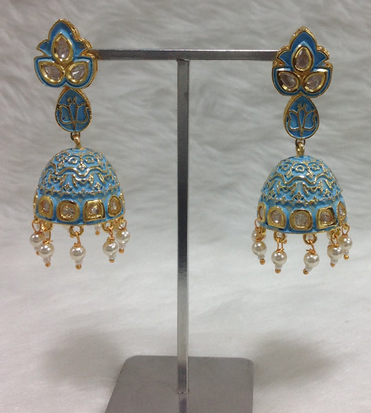 Sky Blue Enamel Golden Jhumka Earrings