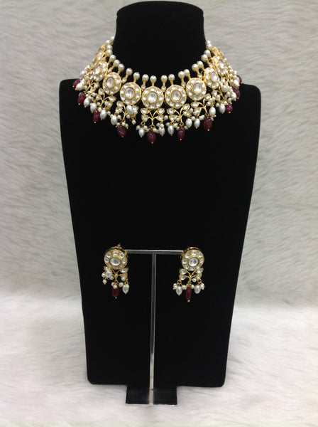 Magnetic Ruby Red Gemstones Kundan And Pearl Choker Necklace Set