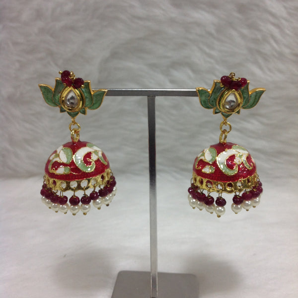 Classic Red and Green Meenakari Earrings