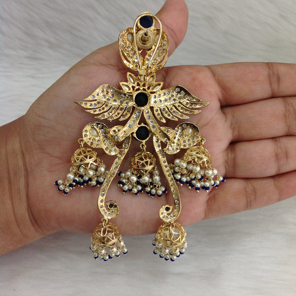 Fascinating Blue Kundan Crystal Golden Earrings