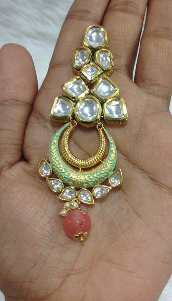 Seren Kundan and Green Meena Earrings