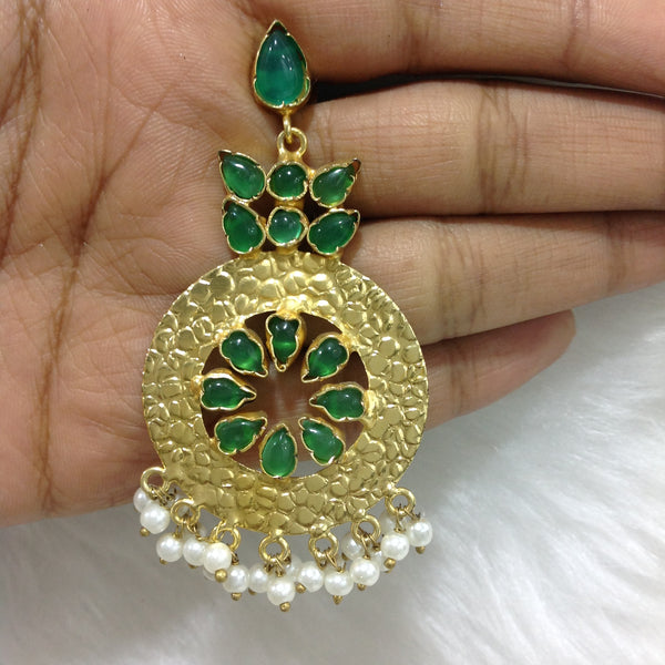 Emerald Green and Gold Round Dangler Gemstone Long Chandbali Earrings