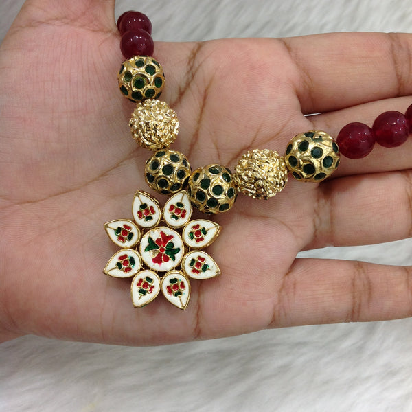 Radiant Green and Red Gemstones Floral Kundan Pendant Necklace