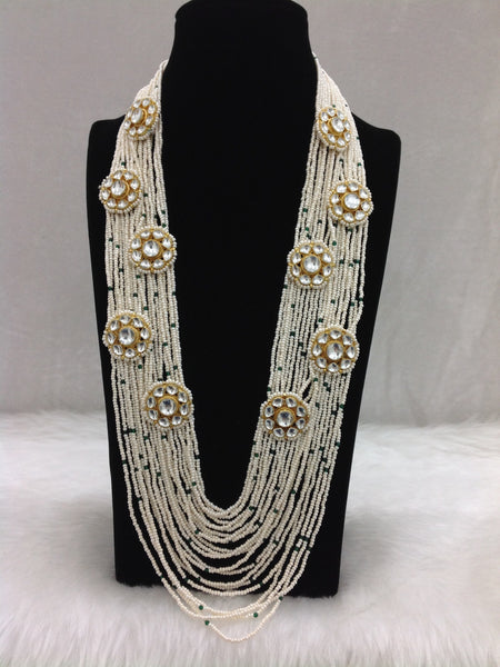 Multi-Stranded Cream Seed Beads And Kundan Necklace Set