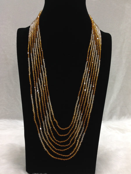Mix Golden Brown Multi-Stranded Crystal Necklace