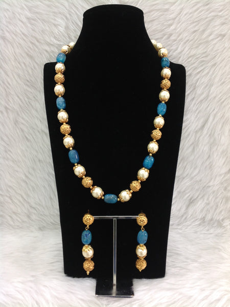 Fine Blue Handcarved Golden Necklace Set