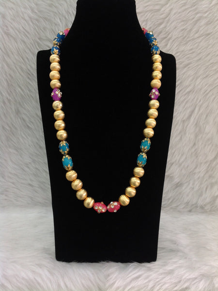 Glorious Golden Beads with Mix Enamel Beads Necklace