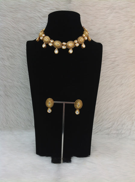 Fascinating Black Droplet Kundan Meenakari Choker Necklace Set