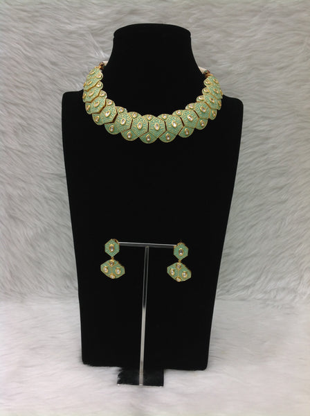 Mysterious Seafoam Green Kundan Meenakari Choker Necklace Set