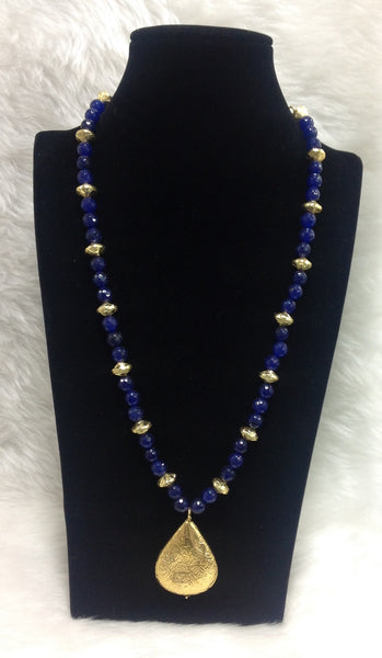Midnight Blue and Gold Beaded Leaf Pendant Necklace