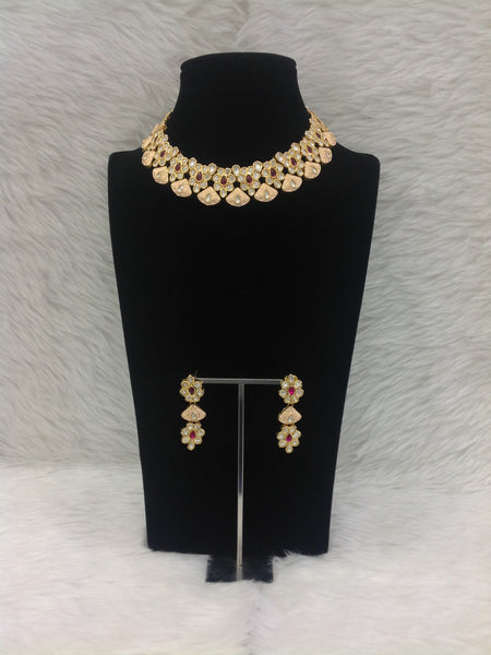 Dazzling Peach Meenakari With Gemstones And Kundan Choker Necklace Set