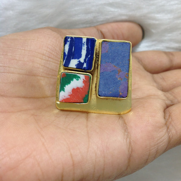 Tinge of Blues and Colors of Indian Flag Ring