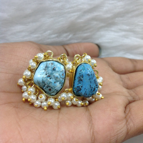 Turquoise Rock Duo Gold Ring