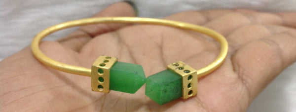 Green and Gold Marble  finished Stone Gemstone Bracelet