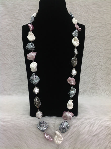 Vintage Mauve and Silver Shell Pearls Accentuated with Baroques Necklace