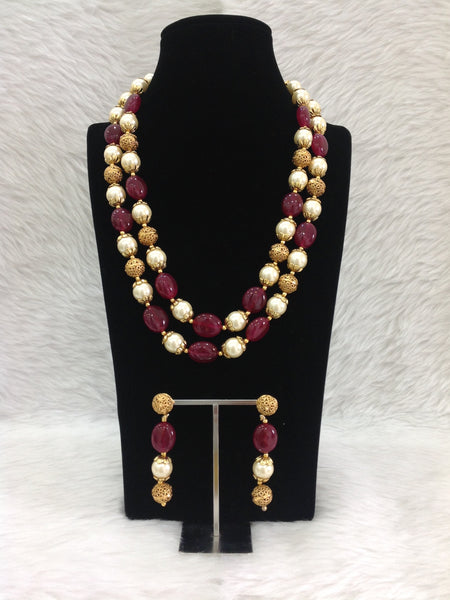 Sangria Red Gemstones Golden Handcarved Necklace Set
