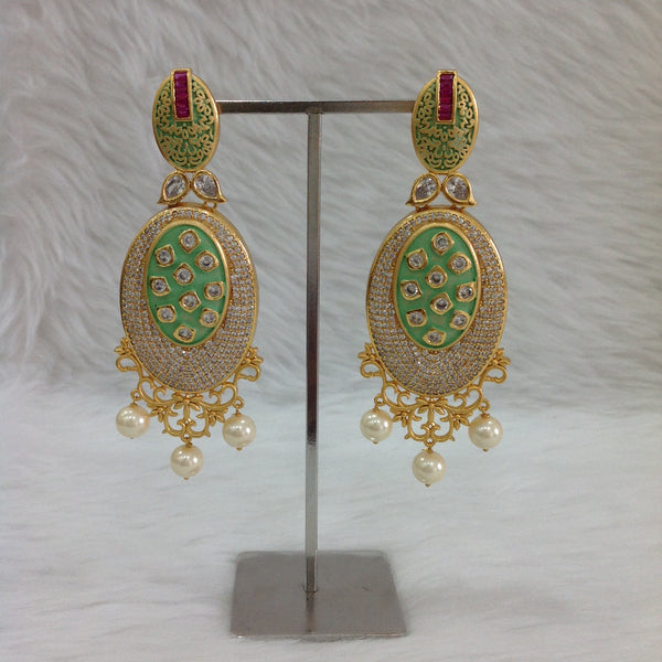 Sensational Seafoam Green Kundan And Crystal Long Earrings