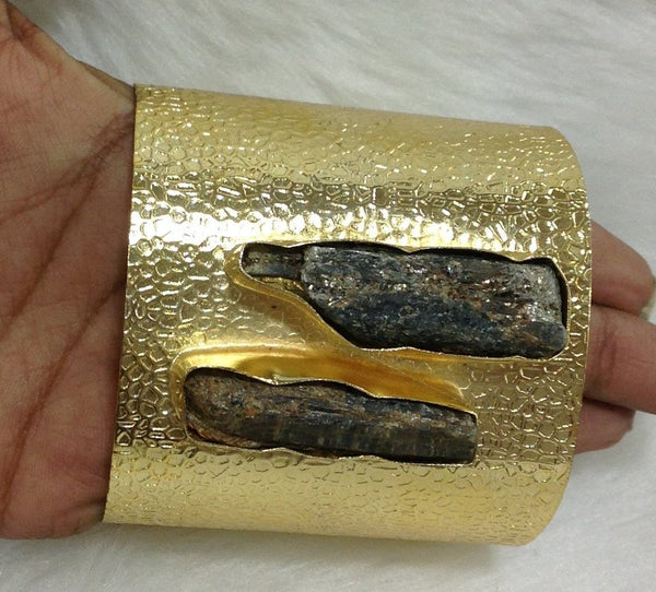 Black stone and Gold Plated Bangle Bracelet
