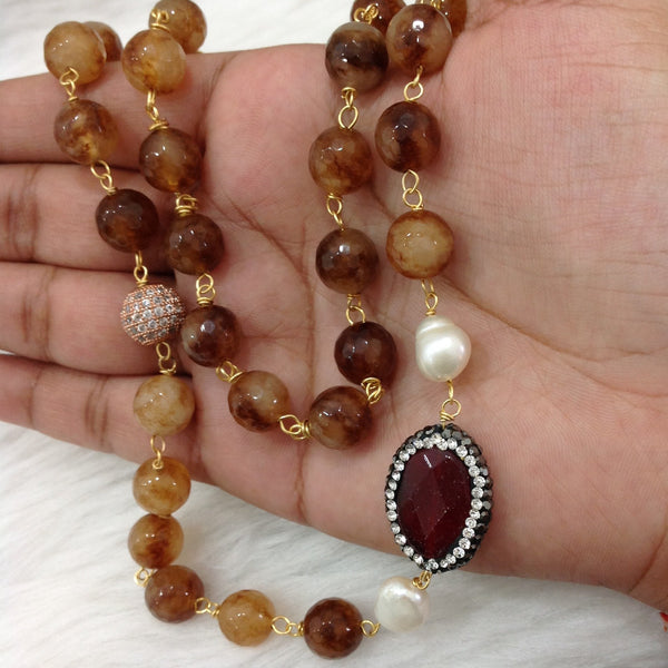 Caramel Brown Gemstones Necklace