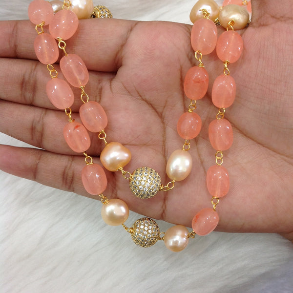Precious Peach Gemstones With Pearl Crystal Necklace