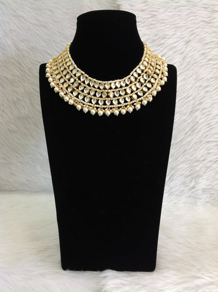 Gorgeous Golden Shell Pearls and Kundan Choker Necklace Set