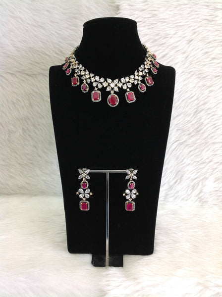 Pleasing Purple Gemstones with Floret Crystal Choker Necklace Set