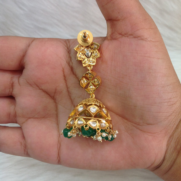 Magnificant Rich Kundan And Green Gemstones Choker Necklace Set