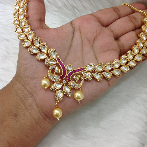 Purple Crystal Kundan And Shell Pearls Necklace Set