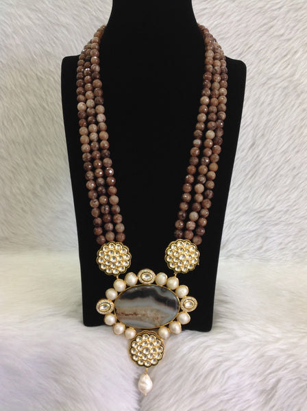 Beauticious Brown Gemstones With Floweret Pendant Necklace