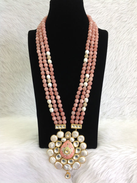 Charming Coral Pink Gemstones With Floweret Pendant Necklace