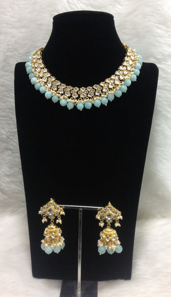 Radiant Mint Green Kundan Necklace Set