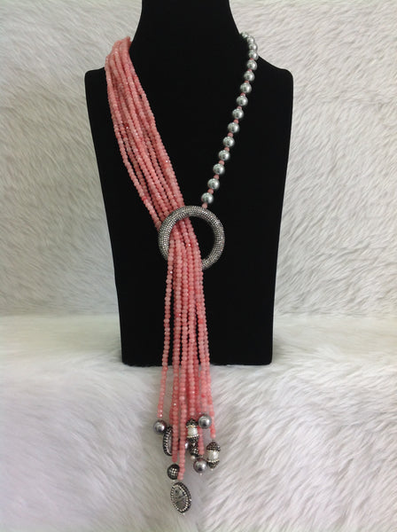 Coral Pink Gemstone Silver Pearl Crystal Ring Necklace