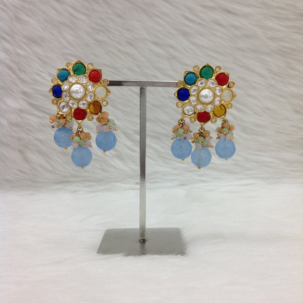 Multi-Coloured Floweret Gemstones With Pearl Drop Earrings