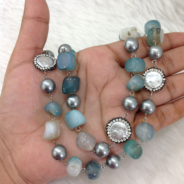Pleasant Mix Teal Shades Blue Gemstones and Shell Pearl Necklace