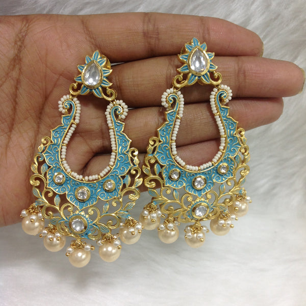 Charming Carolina Blue Long Meena Art Earrings
