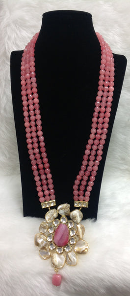 Rich Rose Pink Kundan Drop Pendant Necklace