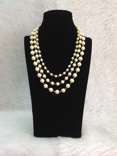 Three Stranded Glorious Golden Shell Pearls Necklace