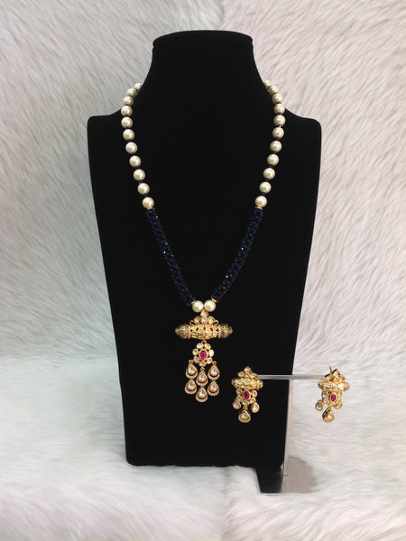 Midnight Blue Gemstones with Pearls and Crystal Necklace Set