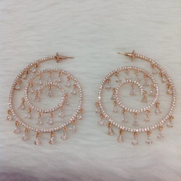 Superb Spherical Rose Gold Crystal Earrings